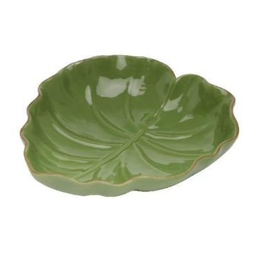 Travessa de Cerâmica Banana Leaf Verde Liso Grande 28,5x27x7cm 3873
