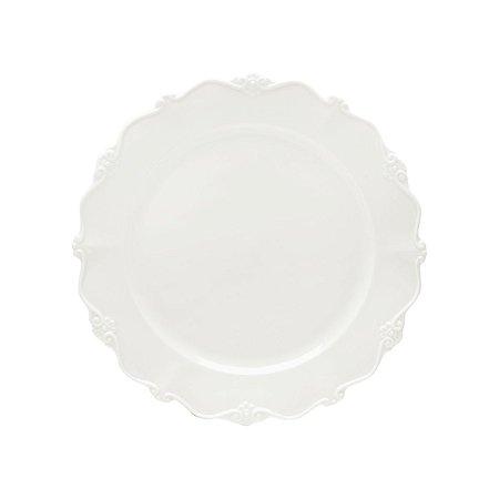 Conj 6 Pratos Sobremesa Porcelana Fancy Branco Wolff 20cm 17268