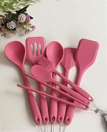 Kit com 8 Utensílios Silicone Rosa Chiclete Pink Oikos