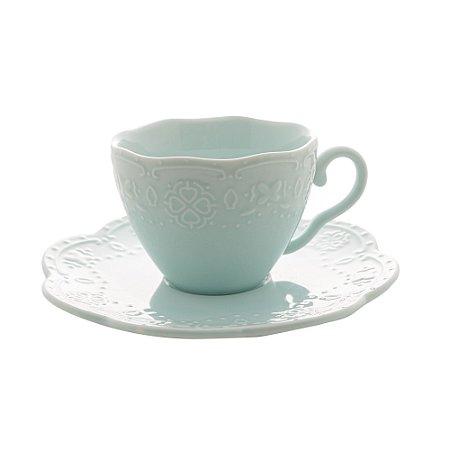 Conj 4 Xícaras para Café com Pires Butterfly Azul 120ml 28747