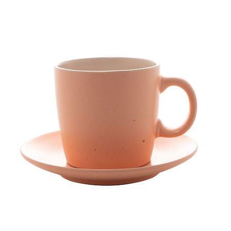 Jogo 4 Xícaras com Pires para Chá Cerâmica Granilite Salmon 200ml 28562
