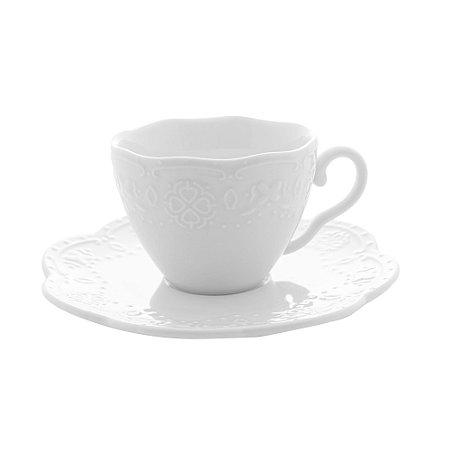 Conj 4 Xícaras para Café com Pires Butterfly Branco 120ml 26415