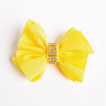 Laço Margarida Amarelo Fita De Gorgurão No Bico De Pato Com Manta Dourada