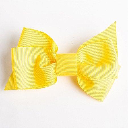 Laço Framboesa Amarelo Fita De Gorgurão No Bico De Pato