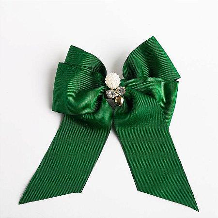 Laço Cerejeira Verde Bandeira Fita De Gorgurão Com Aplique No Meio