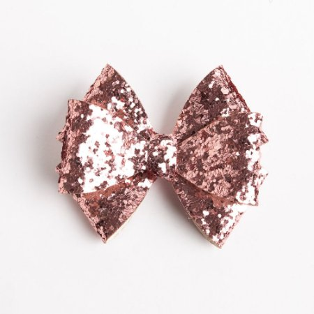 Laço Girassol Rose Couro De Glitter