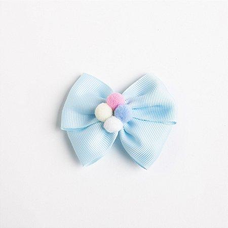 Laço Carambola Azul Bebe Fita de Gorgurão Com Pompom No meio No Bico De Pato