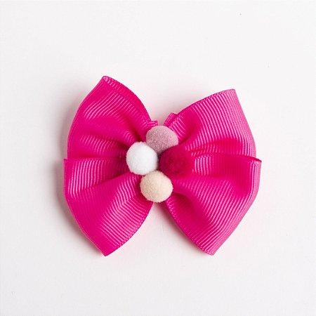 Laço Carambola Pink Flúor Fita de Gorgurão Com Pompom No meio No Bico De Pato