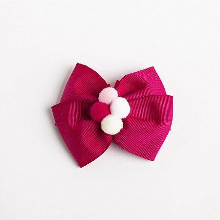 Laço Carambola Pink Escuro Fita de Gorgurão Com Pompom No meio No Bico De Pato