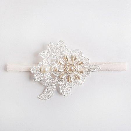 Faixa Anis Branco De Meia Com Flor De Guipure Aplique No Meio