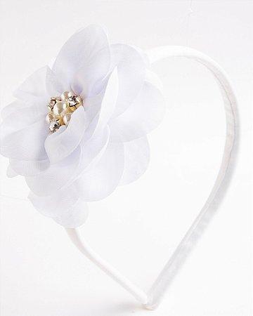 Tiara Camélia Branco Flor De Voal Apliques No Meio