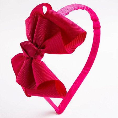 Tiara Salvia Pink Escuro Fita De Gorgurão Com Nó No Meio