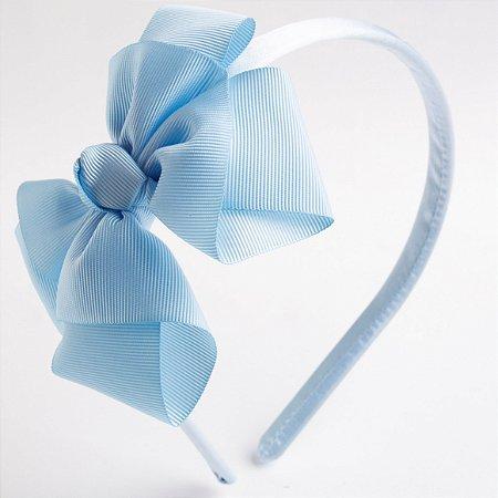 Tiara Salvia Azul Bebê Fita De Gorgurão Com Nó No Meio