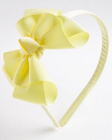 Tiara Salvia Amarelo Fita De Gorgurão Com Nó No Meio