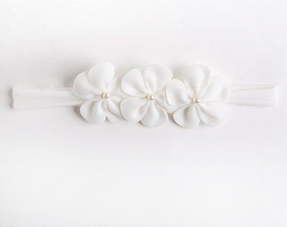 Faixa Ipê Branco Trio Flores De Feltro Com Aplique No Meio