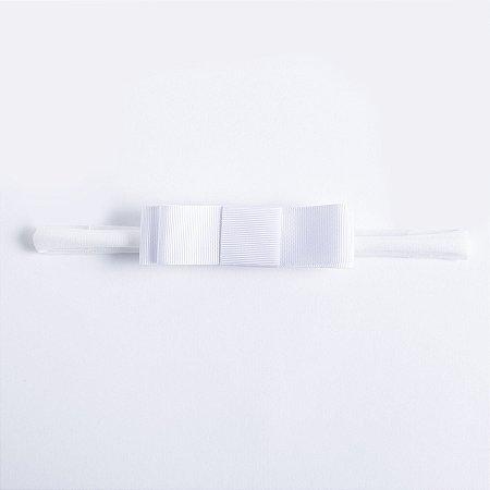 Faixa Begonia Branco Laço Chanel Duplo De Gorgurão