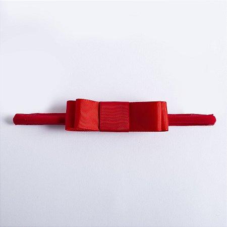 Faixa Begonia Vermelho Laço Chanel Duplo De Gorgurão