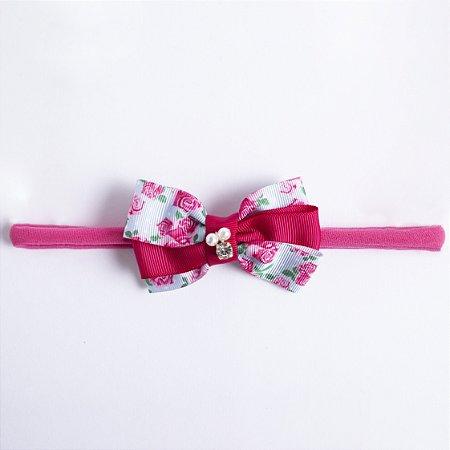 Faixa Camomila Pink Laço de Gorgorão Com Pérolas e Strass