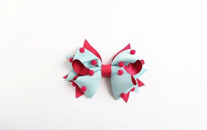 Laço Confete Tiffany/Pink Com Pompom Pink