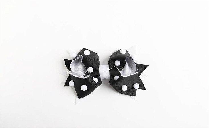Laço Confete Preto/Branco Com Pompom Branco