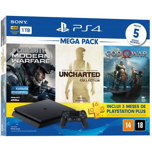 Console PS4 1TB Slim Mega Pack CUH2214B Nacional - Sony
