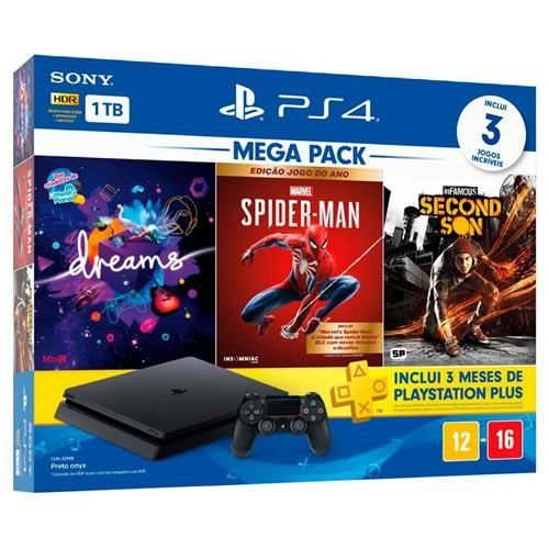 Console PS4 1TB Slim Mega Pack Hits 17 - Garantia Oficial Sony