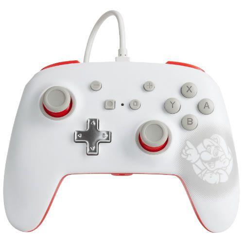 Controle Com Fio PowerA Mario White - Switch