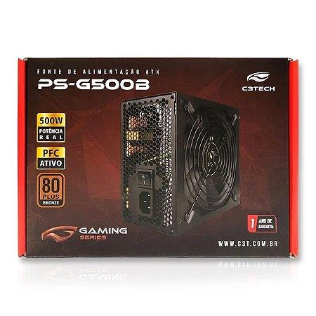 Fonte de Alimentação ATX Gaming - C3 Tech Ps-G500b - 500w 80Plus
