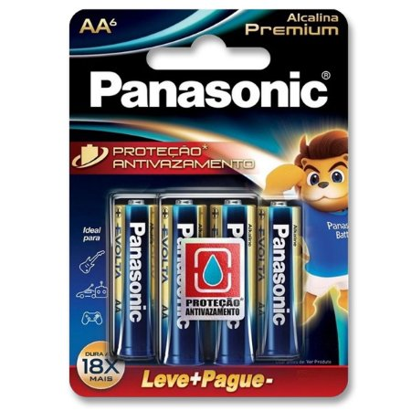 Pilha AA Alcalina Premium 18x Mais Durável – Blister 6 Unidades – Panasonic