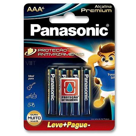 Pilha Palito AAA Alcalina Premium Panasonic – Blister com 6 Unidades