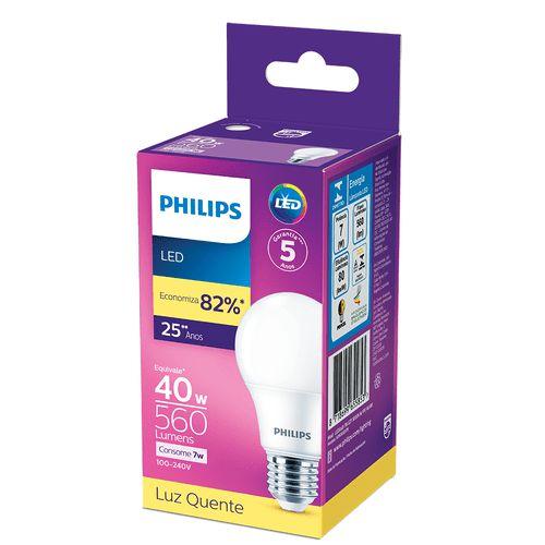 Lâmpada Led Philips 7w E27 Quente Am.560lm