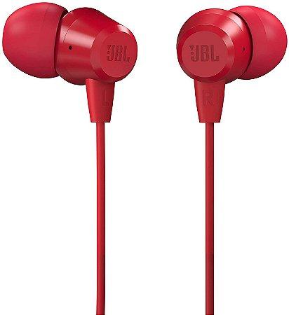 Fone de Ouvido JBL C50HI Bass Sound com Microfone JBLC50HIRED - Vermelho