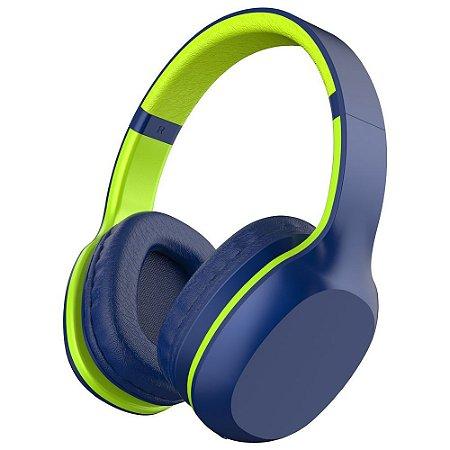 Headset Fone de Ouvido Bluetooth 5.0 Xtrax Groove com Microfone Embutido, Cabo P2 – Azul / Verde