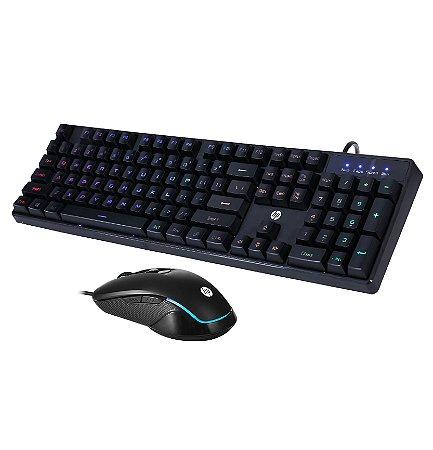 Kit Teclado e Mouse Gamer HP KM200 USB – Preto, Led RGB, ABNT2, Português, mouse 6 botões até 2400dpi
