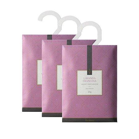 Três Sachês Perfumados Via Aroma 25g / Lavanda Francesa