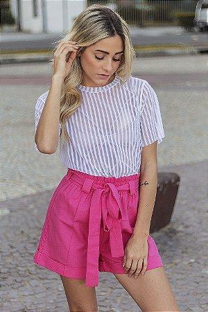 Short Linen Clochard Pink