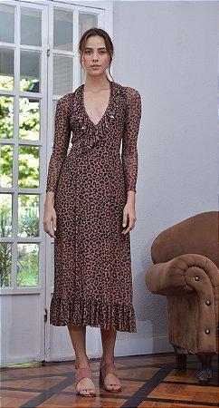 Vestido Tule Lince Onça Brown