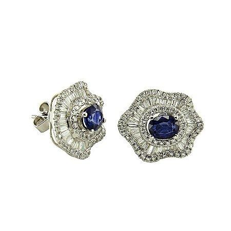 Brinco Safira c/ Diamantes  -  cod 07045068