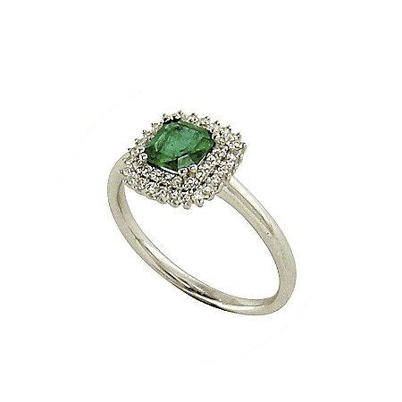 Anel em Ouro-Esmeralda c/ Diamantes   -   cod 09045077