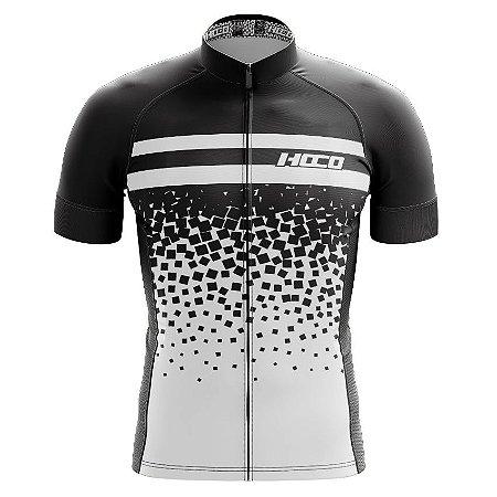 Camisa de Ciclismo Pró Race - Quadrado Preto e Branco