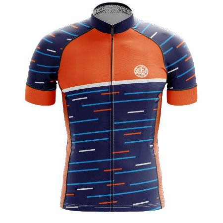 Camisa de Ciclismo PRO - Linhas - Azul e Laranja