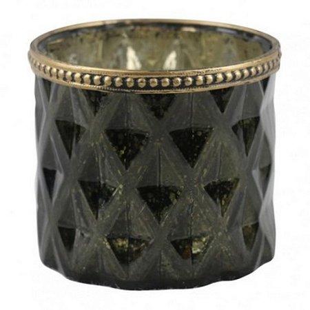 Cachepot Metal Dourado e Vidro