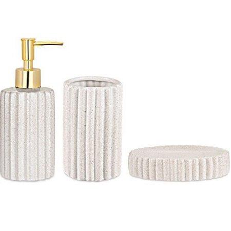 Kit  de Banheiro 3 Pçs Frizado Branco e Dourado