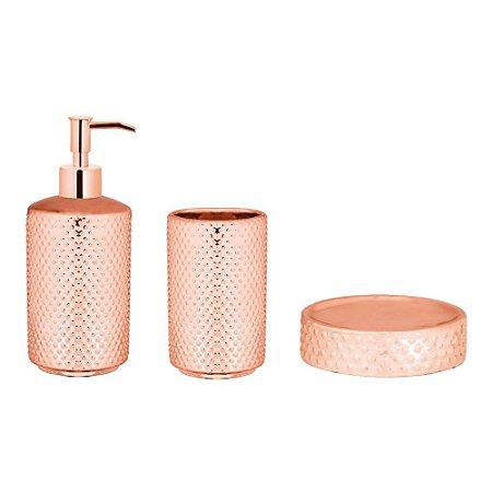 Kit Para Banheiro Rose Gold em Cerâmica - 3 Peças