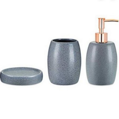 Kit 3 Peças Banheiro Cinza Rosê
