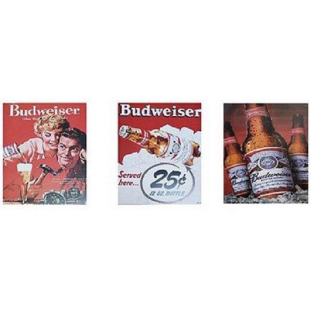 3 Quadros Cartão MDF Budweiser