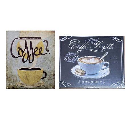 2 Quadros Cartão MDF Caffee Vintage