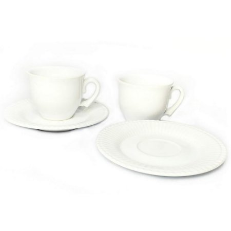 Conjunto 6 Pares Xícaras Chá Branco Frisada