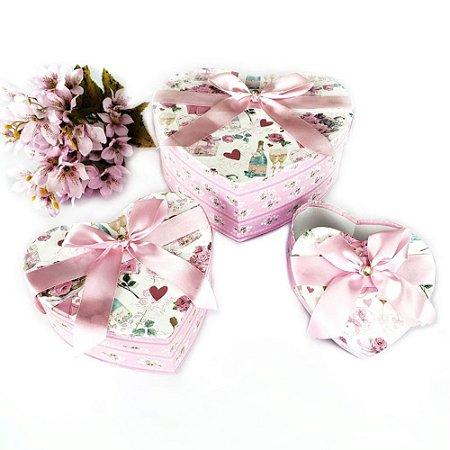 Caixas de Presentes 3 Peças Corações Pink