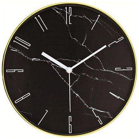 Relógio Parede Marmorizado Preto/ Dourado